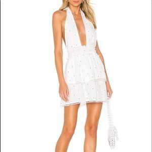 Emilia Mini Dress in White Polka Dot